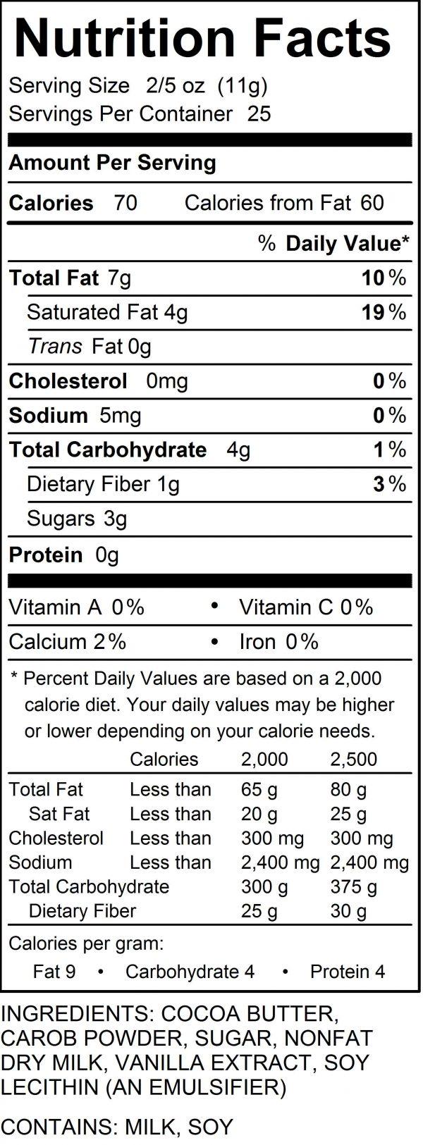 Kerobh Nutrition Label